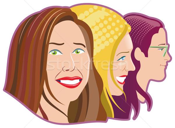 три женщины лицах девушки глаза лице Сток-фото © mannaggia