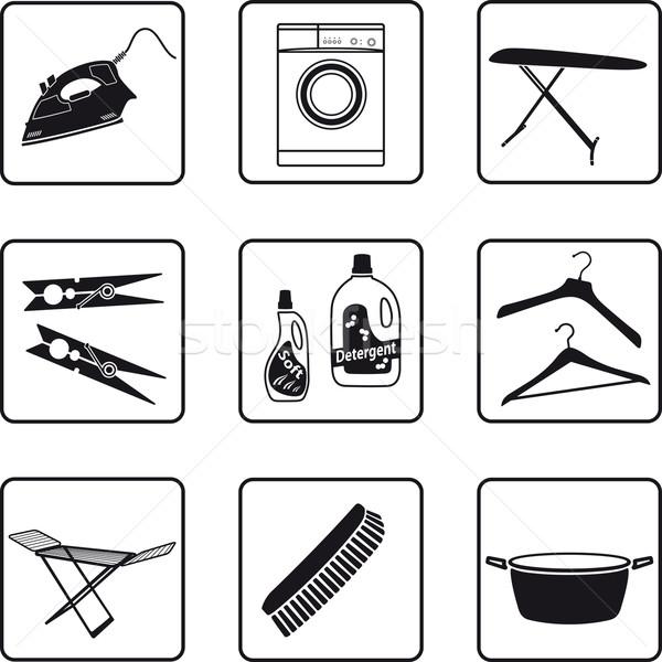 Wasserij objecten zwart wit silhouetten zwarte silhouet Stockfoto © mannaggia