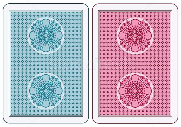 Speelkaarten Maakt een reservekopie abstract ontwerp Blauw casino Stockfoto © mannaggia