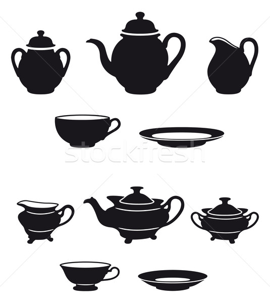 茶 2 異なる 黒白 シルエット ミルク ストックフォト © mannaggia