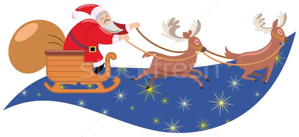 サンタクロース そり サンタクロース 幸せ 冬 青 ストックフォト © mannaggia