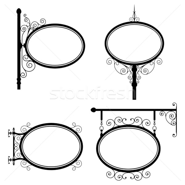 Oval assinar preto e branco ferro sinais conjunto Foto stock © mannaggia