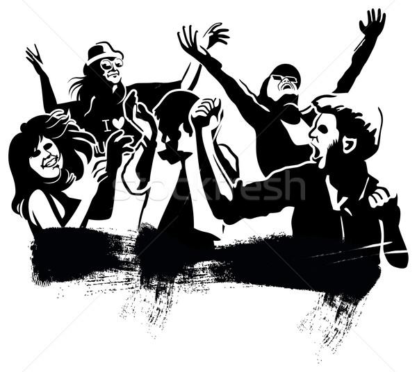 ダンス グループ 男の子 女の子 黒 シルエット ストックフォト © mannaggia