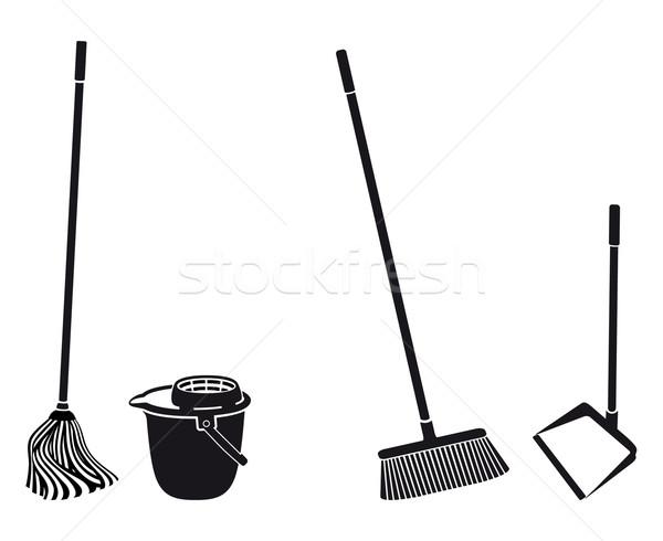 полу очистки объекты черный силуэта Сток-фото © mannaggia
