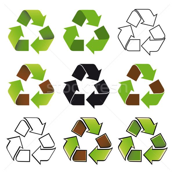 リサイクル シンボル 9 異なる コンセプト 自然 ストックフォト © mannaggia