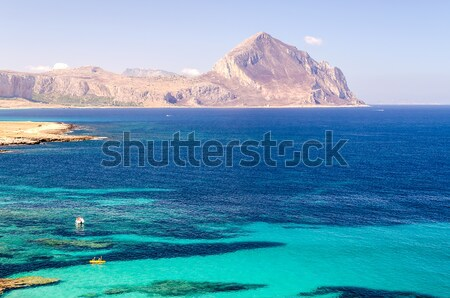 Panoramic View Over Sicilian Coastline and Cofano Mountain Stock photo © marco_rubino