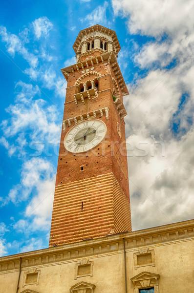 Kule verona İtalya Bina inşaat saat Stok fotoğraf © marco_rubino