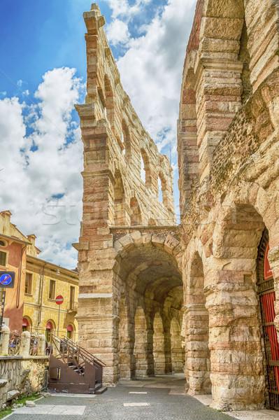 Verona aréna ősi római Olaszország égbolt Stock fotó © marco_rubino