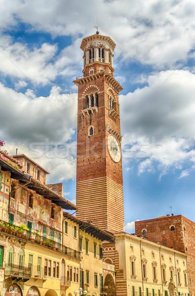 Torre verona Itália edifício construção relógio Foto stock © marco_rubino