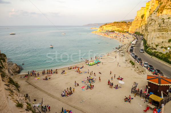 Panorama kustlijn zonsondergang landschap zee oceaan Stockfoto © marco_rubino