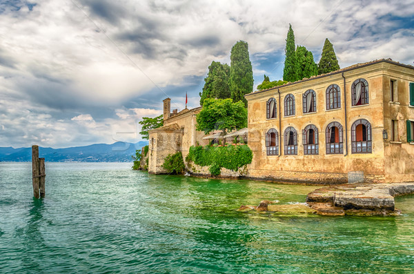 ストックフォト: ガルダ湖 · 町 · イタリア · ヴェローナ · 水 · 家