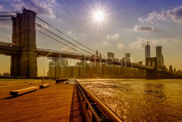 Köprü New York ABD seyahat ufuk çizgisi kablo Stok fotoğraf © marco_rubino