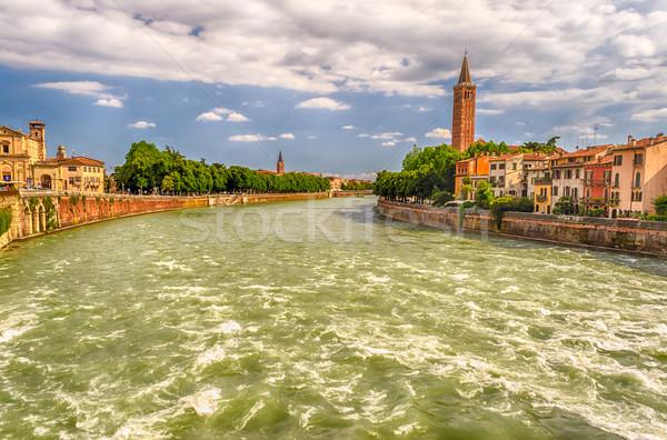 View Over Adige River in Verona, Italy Stock photo © marco_rubino