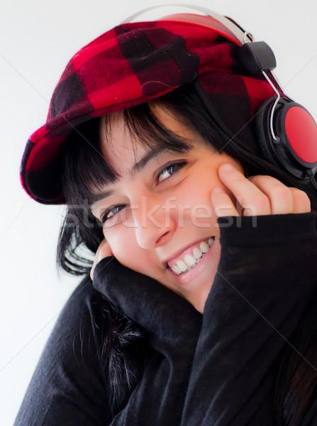 woman with headphones Stock photo © Marcogovel