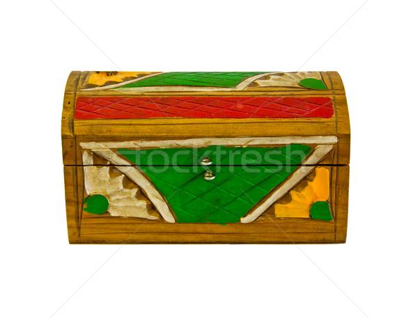 Peint bois boîte isolé blanche design Photo stock © Marcogovel