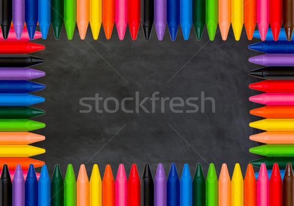 Vissza az iskolába színes ceruzák fekete tábla iskola Stock fotó © Marcogovel