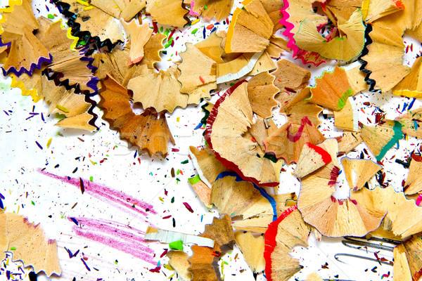 Potlood puntenslijper afval geschilderd hout pen Stockfoto © Marcogovel