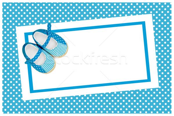 Bébé douche bleu chaussures anniversaire cadre Photo stock © Marcogovel