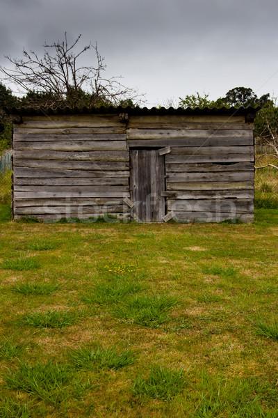 古い木材 建設 木材 ホーム フレーム 青 ストックフォト © Marcogovel