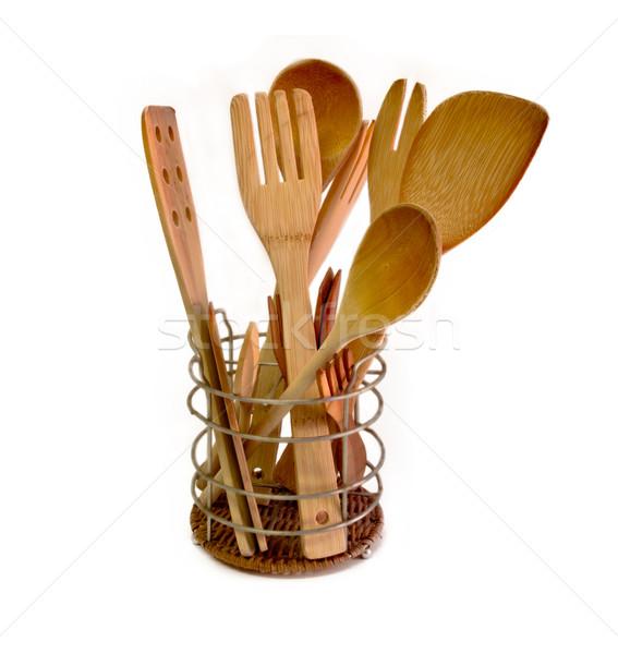 wooden kitchen utensils Stock photo © Marcogovel