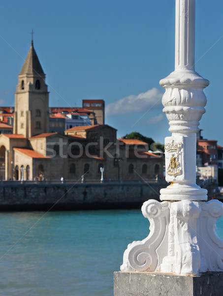 lamppost, sea and church Stock photo © Marcogovel