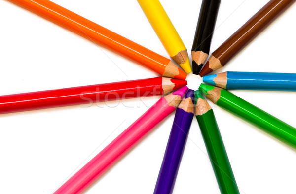 Couleur crayons isolé blanche bois école Photo stock © Marcogovel