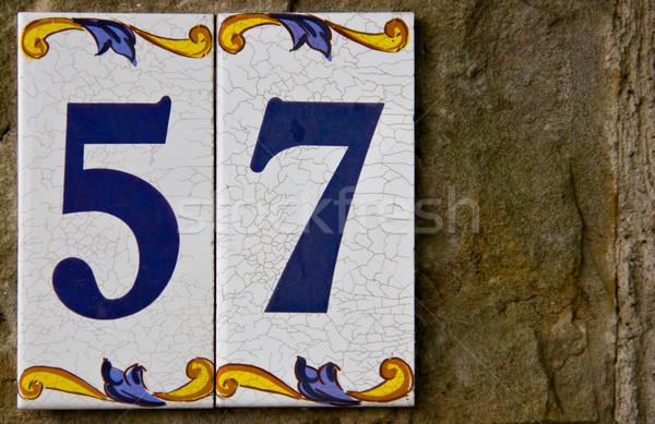 Adres aantal dorp huis stad muur Stockfoto © Marcogovel
