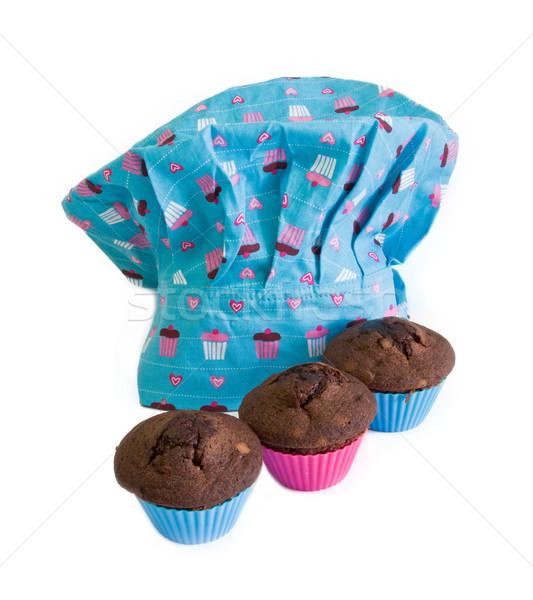 Szakács sapka torták kék három étel munka Stock fotó © Marcogovel