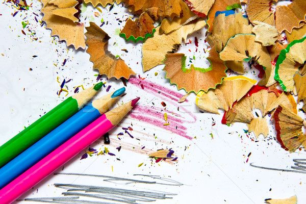 Pencil sharpener waste Stock photo © Marcogovel