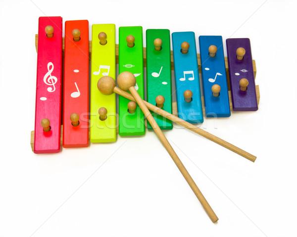 Speelgoed xylofoon geïsoleerd witte baby kinderen Stockfoto © Marcogovel