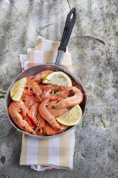 Presentation Of Raw Shrimp Stock photo © marcoguidiph