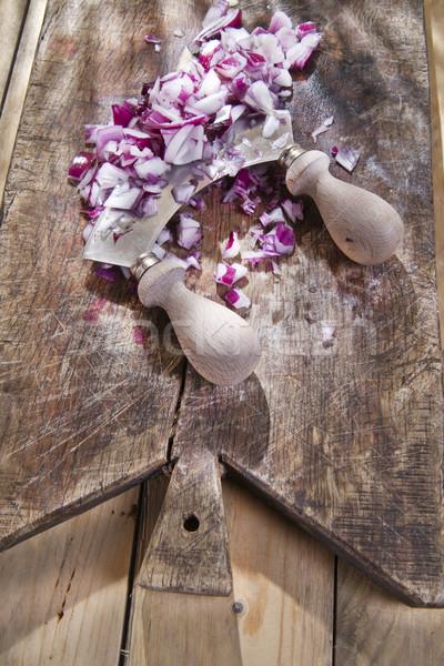 Soğan hilâl hazırlık üzerinde ahşap Stok fotoğraf © marcoguidiph