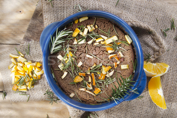 Chestnut flour cake with orange and rosemary Stock photo © marcoguidiph