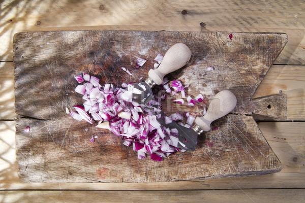 лука полумесяц подготовка древесины Сток-фото © marcoguidiph