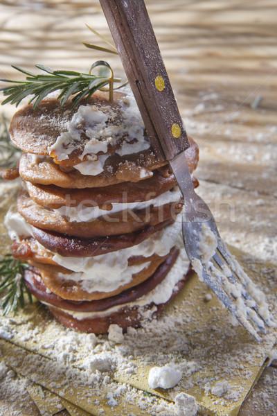 Gesztenye liszt palacsinták túró sajt toszkán Stock fotó © marcoguidiph