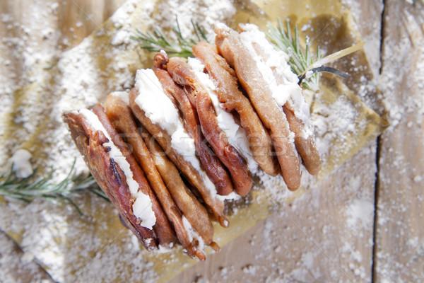 Castanha farinha panquecas requeijão queijo toscano Foto stock © marcoguidiph