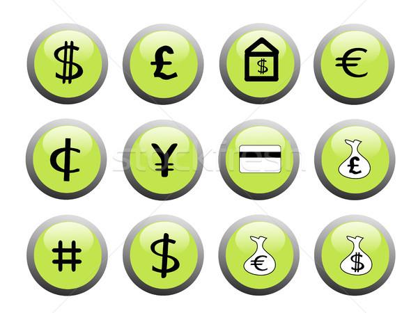 Green financial icon buttons Stock photo © marcopolo9442