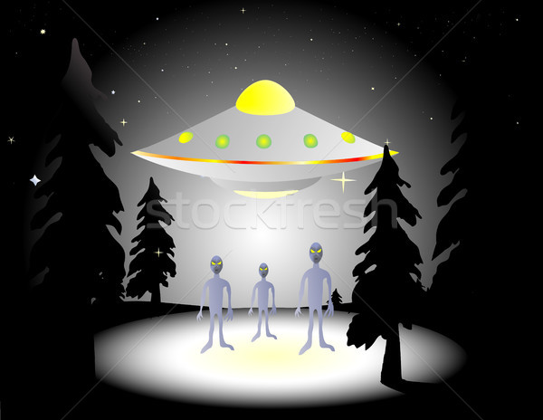 Bosques ilustración vuelo platillo noche vida Foto stock © marcopolo9442