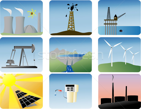 energy icons set Stock photo © marcopolo9442