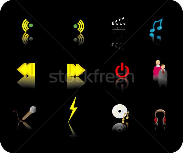 Color media icon set Stock photo © marcopolo9442
