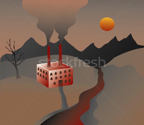 Usine sur smog paysage terre industrie Photo stock © marcopolo9442
