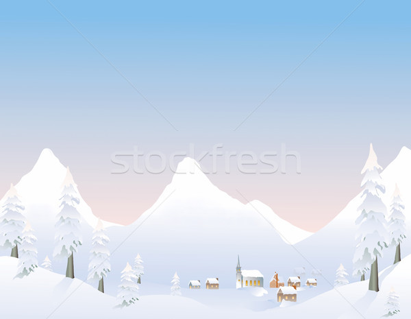 Winter mountain village Stock photo © marcopolo9442