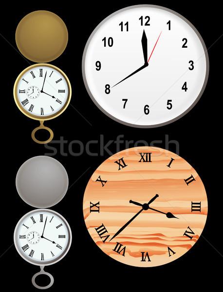 часы вектора иллюстрация стены золото серебро Сток-фото © marcopolo9442