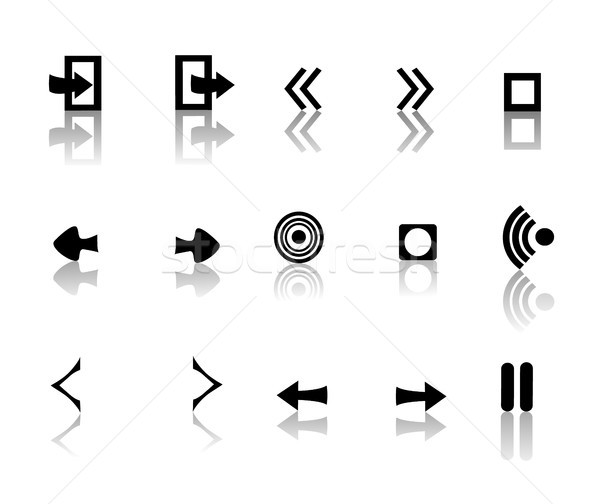 black and white reflective icons Stock photo © marcopolo9442