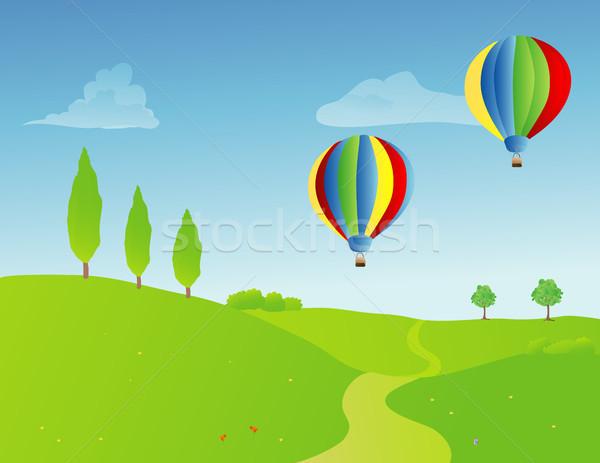 Foto stock: Par · quente · ar · balões · primavera