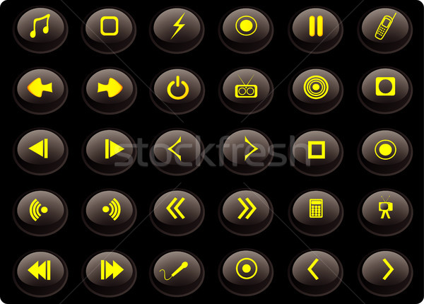 Black and yellow media web buttons Stock photo © marcopolo9442