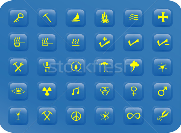 Blue and yellow square buttons Stock photo © marcopolo9442