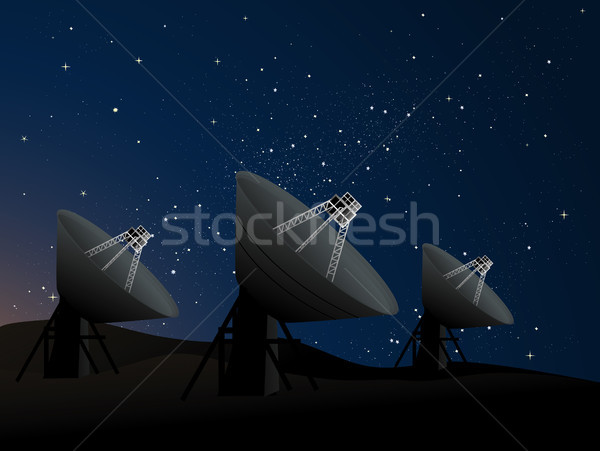 Radio astronomie plat pointant up ciel de la nuit Photo stock © marcopolo9442