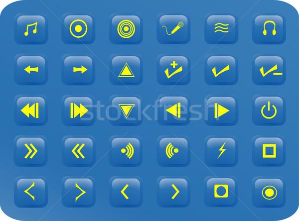 Blue media aquare buttons Stock photo © marcopolo9442