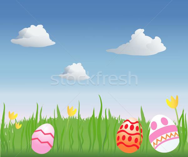 Easter egg hunt dekore edilmiş paskalya yumurtası çimenli alan Paskalya Stok fotoğraf © marcopolo9442